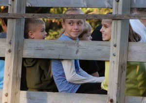 kids on the hay ride at fall festival