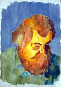 "Watercolor by Lowell: ""We were a pretty tight group as we had a long time [3 months] together in a training camp in Baker, LA which bonded us together more than subsequent groups that did most of their training in-country and individualized. My contact with Fred in Swaziland was limited as he was in another part of the country but, as we were in town [Manzini], he would come by, visit us [the late Chris Lackey, a British Volunteer with whom I shared a house at my school, and me], do some shopping, get a real shower, a pub visit and hang out. On one of those occasions I did this hasty watercolor portrait when he had dozed off in a chair. Not sure how good of a likeness it is. He had a big bushy reddish beard by then. I remember he liked to wear an olive-green army surplus shirt. Ironically it would be the only picture I would have of him."""