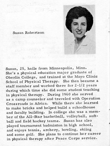 Susan's bio listed in a booklet given to volunteers during training