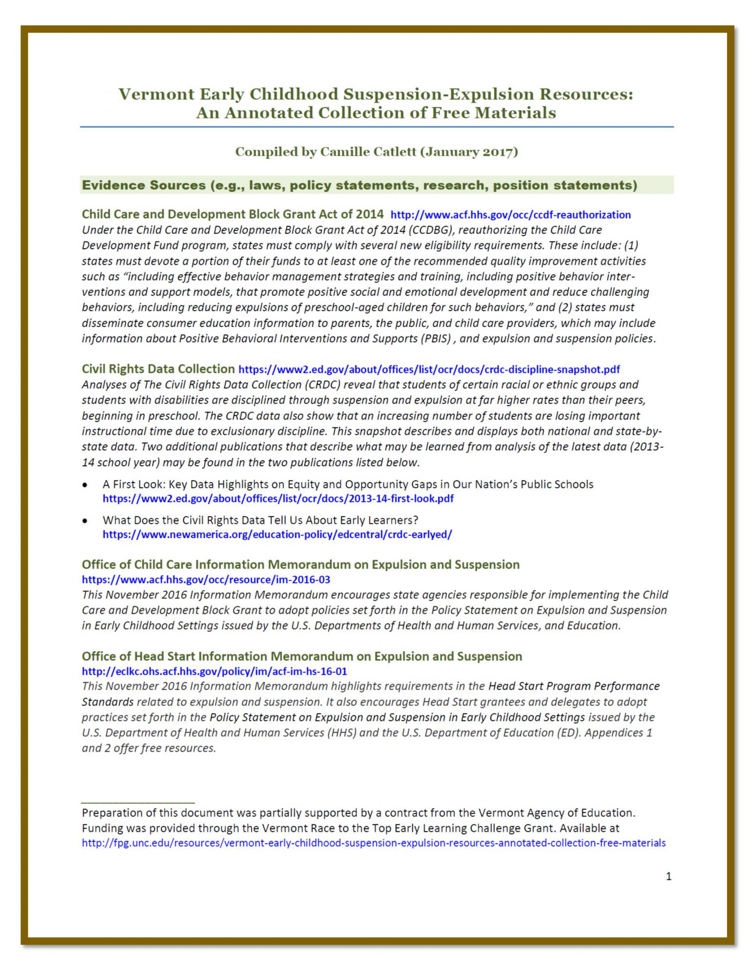 Vermont Early Childhood Suspension Expulsion Resources An Annotated Collection Of Free