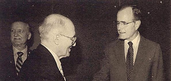Yaroslav Stetsko, an OUN leader during World War II, meets George H.W. Bush.