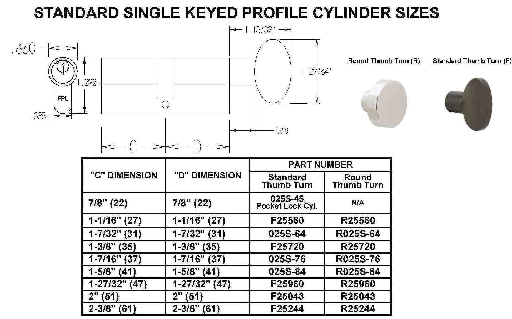 hight resolution of size chart single keyed cylinders standard