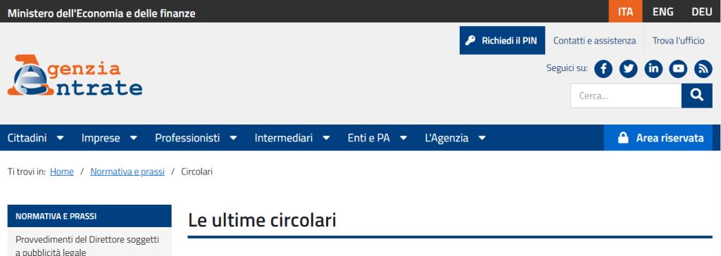 Circolari Agenzia delle entrate