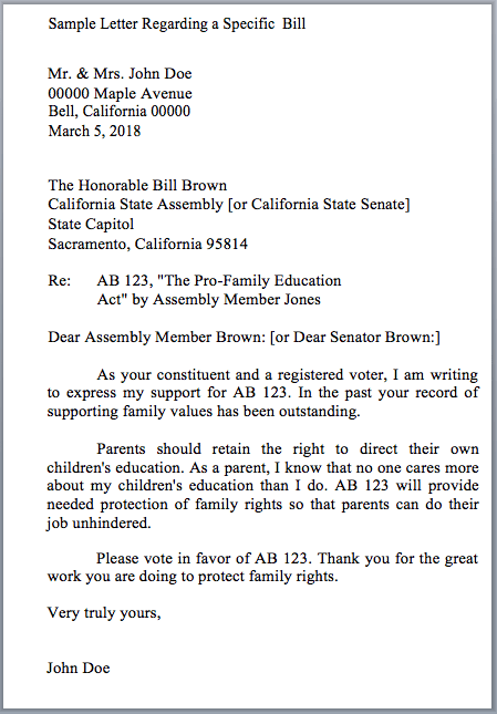 writing a letter to a legislator