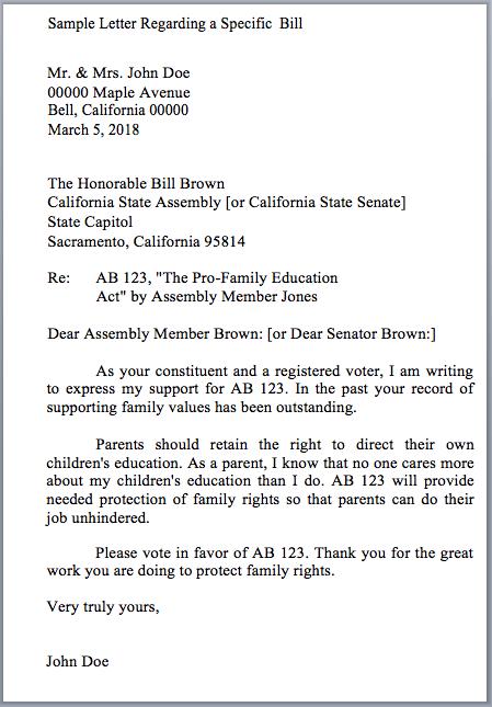 Template Letter To Legislator