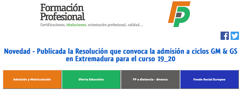 MATRICULACIONES A CICLOS FORMATIVOS PARA EL CURSO 2019/20