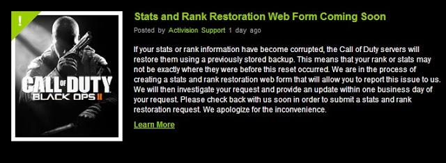 [BO2] Black Ops 2: Activision、「巻き戻りバグ」被害者のデータ個別復元を正式発表!