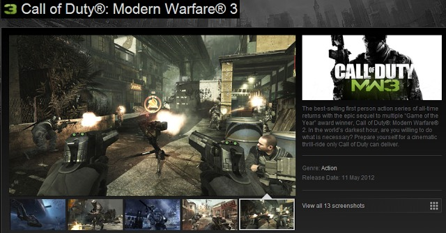 [MW3] ついに本日よりSteamで『CoD:MW3』が購入可能に!※