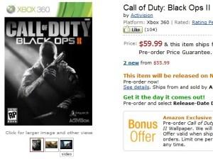 [BO2] 『Call of Duty: Black Ops 2』初日予約本数がすでに『MW3』の10倍以上に!- 米Amazon