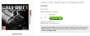 [BO2] 『Black Ops 2』3DS版とWii版が絶賛予約受付中。お値段約5,800円