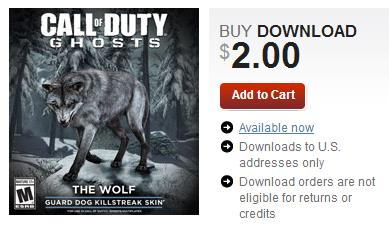 Call of Duty Ghosts Wolf Skin by Activision