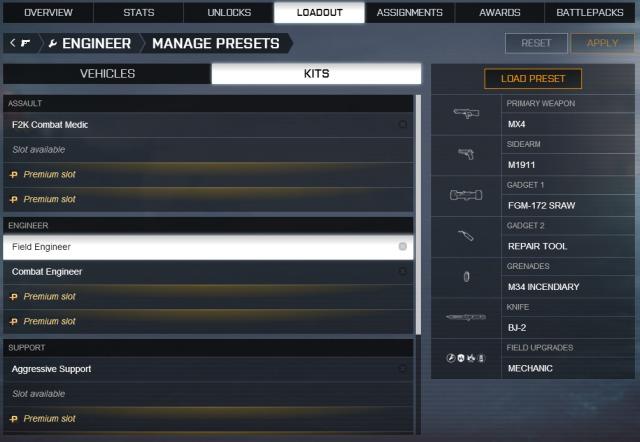 Battlefield 4 : ロードアウトのプリセット機能追加、本日から