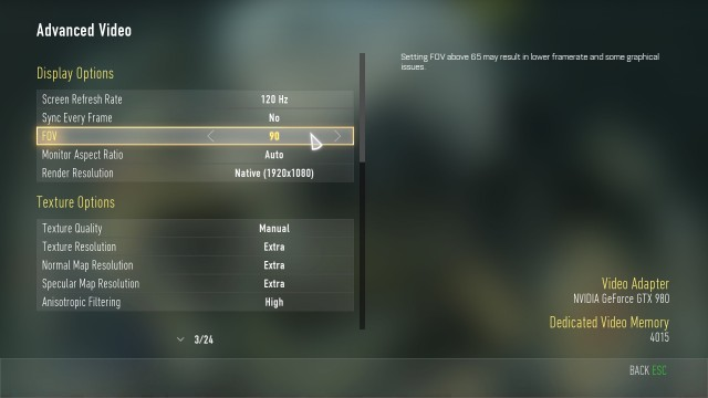『Call of Duty: Advanced Warfare(コール オブ デューティ アドバンスド・ウォーフェア)』PC設定画面 01