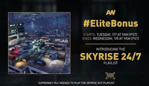 CoD:AW:Skyrise 24/7 プレイリスト開始、エリート獲得チャンス & ダブルXPが明日まで!