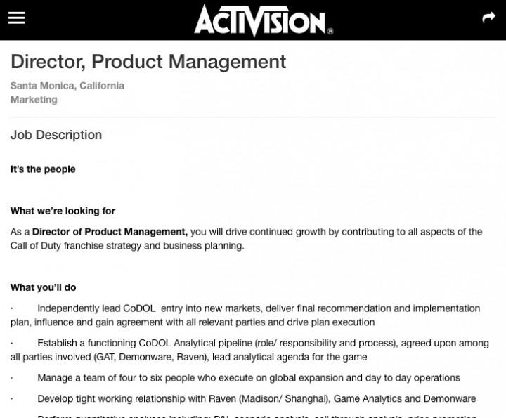 Apply For Activision Director  Product Management job   Marketing   Santa Monica  California