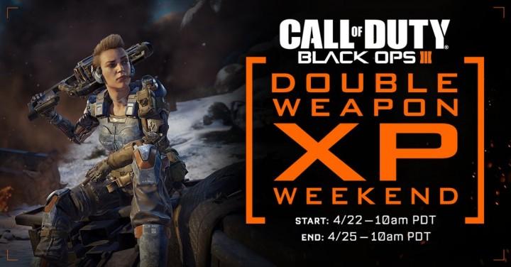 CoD:BO3:武器ダブルXP(経験値2倍)イベント開始、4月26日深夜2時まで