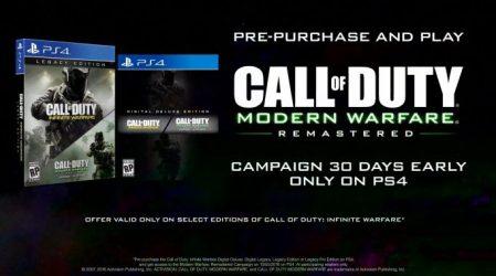 PS4版『CoD:IW』のスペシャルエディション予約で、『CoD:MW』のキャンペーンを30日先行プレイ可能に