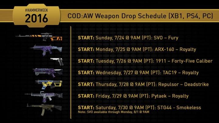 CoD:AW:「HAMMERWEEK 2016」開催、7種の武器を無料配布(PS4,X1,PC)