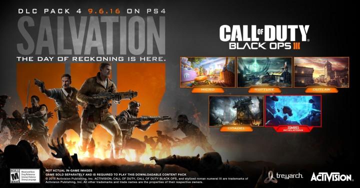 """CoD:BO3:第4弾DLC「Salvation(サルベーション)」発表、4種のマップとゾンビ""""Revelations""""同梱でPS4へ9月6日先行配信"""