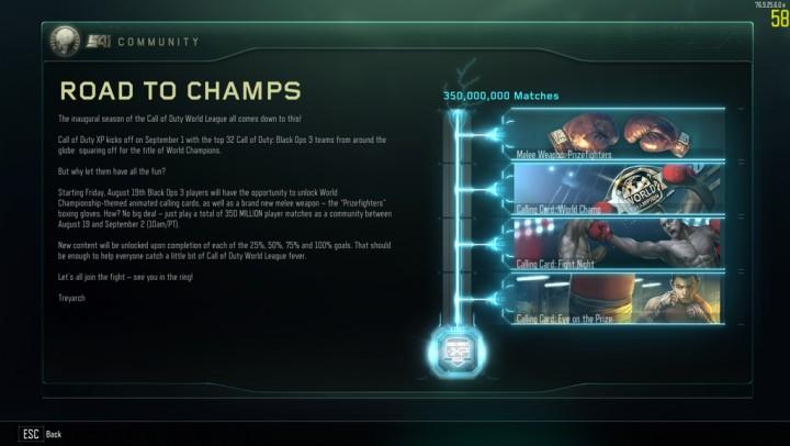CoD:BO3:コミュニティチャレンジ達成、格闘武器「プライズファイター」を全プレイヤーに解放