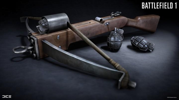 BF1:新武器「ソートレル」登場? 第一次世界大戦時に実在した手榴弾付きクロスボウ