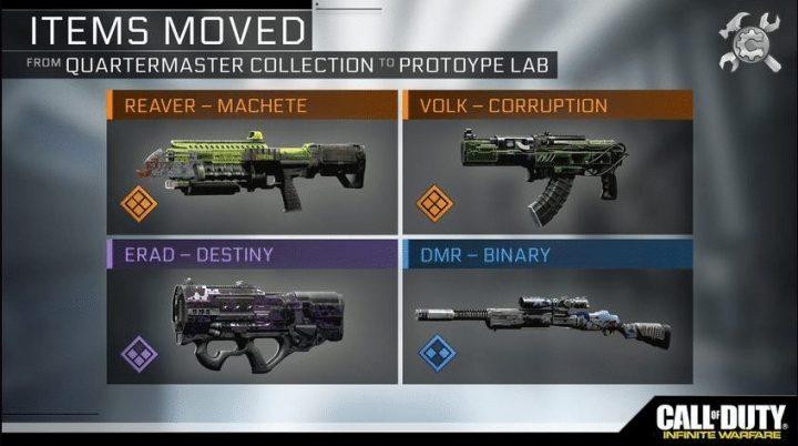 プロトタイプラボに移動となった4種の武器。