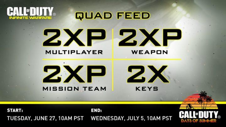 CoD:IW: ダブルXP、武器ダブルXP、ダブルミッションチームXP、ダブルキーが同時開催!