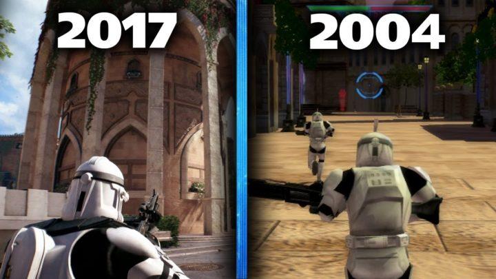 2017年の最新作『SWBFII』と2004年の『スター・ウォーズ バトルフロント』比較映像