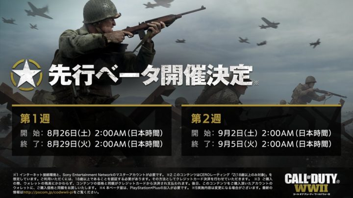 PS4版『CoD:WWII』先行ベータ: PlayStation Plusなしでも参加可能へ