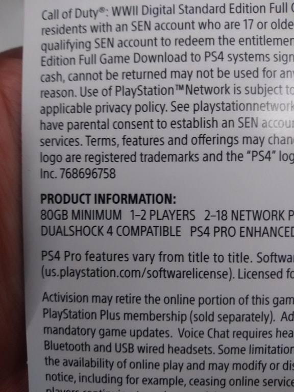 PS4版『CoD:WWII』:ハードディスクの必要空き容量は80GB