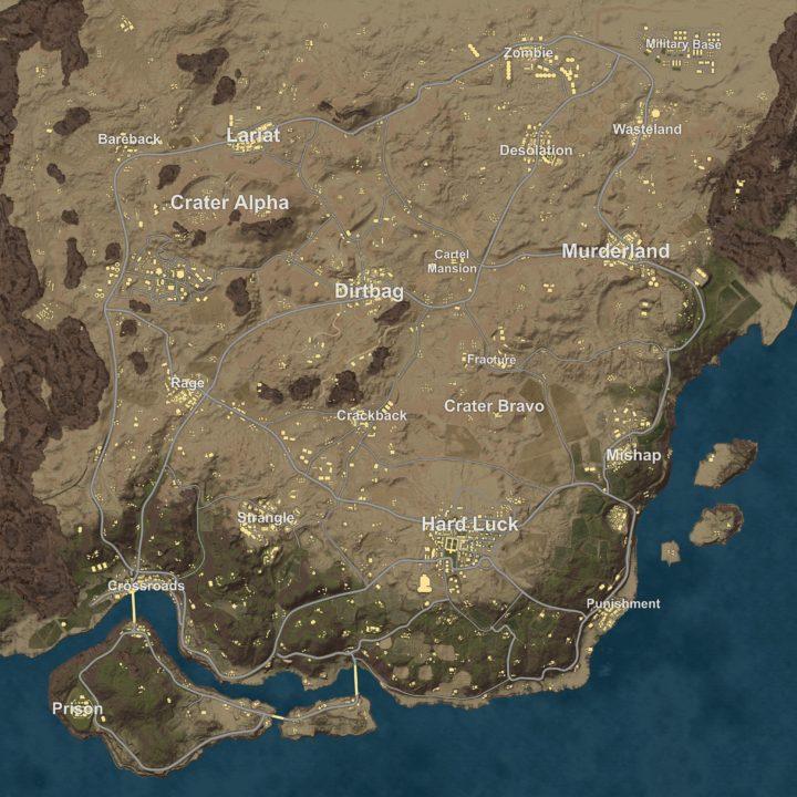 PUBG: 新マップ「砂漠」のミニマップが流出