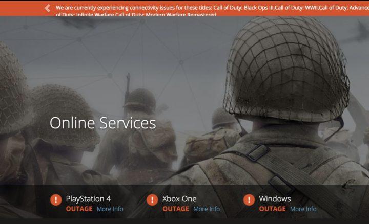 CoD:WWII:全機種で広範囲のサーバーエラー発生中、Activisionが原因調査中