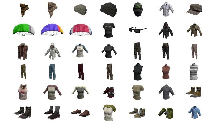 PUBG: 萌えTシャツや色付きパラシュートを含む45種のスキン発掘