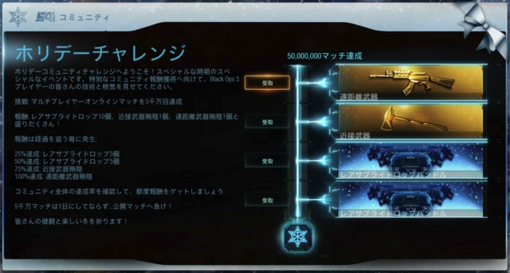 CoD:BO3:コミュニティチャレンジ「マルチ5,000万回」達成、レアドロップ10個と近接&遠距離武器確定