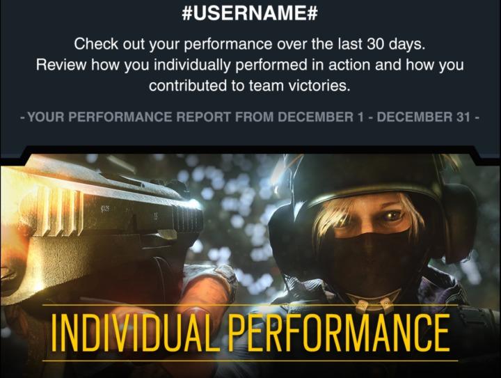 レインボーシックス シージ: 毎月の個人戦績レポートをメール配信開始、サンプル画像を公開