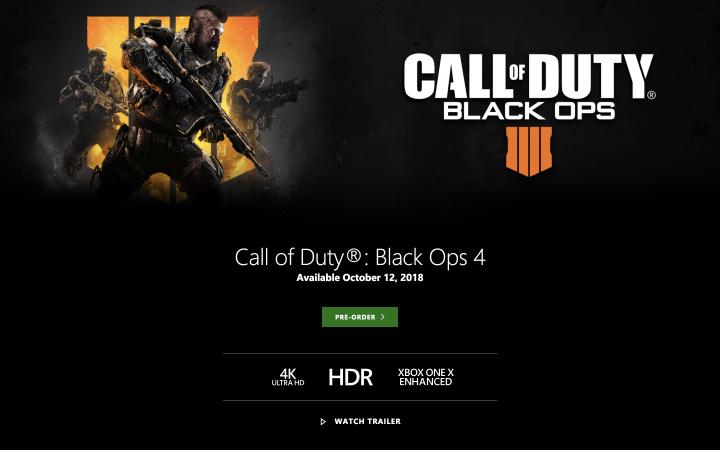 CoD:BO4: Xbox One Xでも4KウルトラHDとHDRに対応