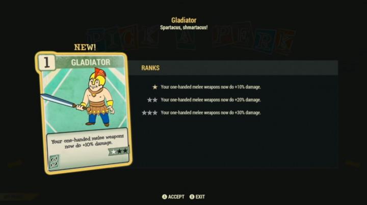 Fallout 76 Perk レベルアップ