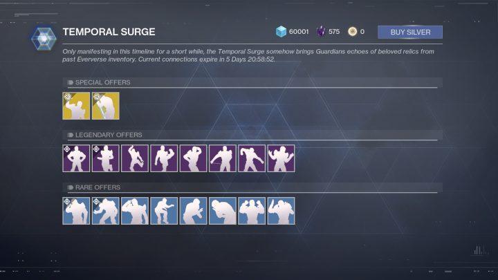 "Destiny 2: 過去の感情表現を期間限定で直接購入できる""TEMPORAL SURGE""が実装"