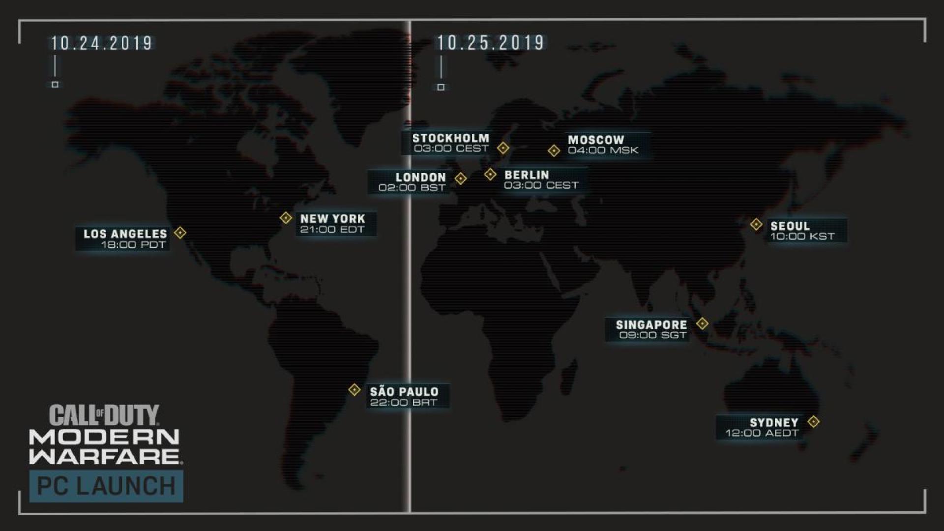 PC版のローンチ日時マップ