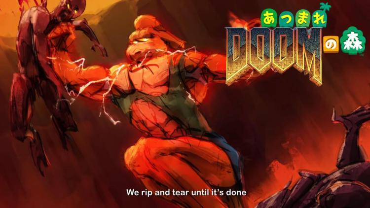 DOOM:あつまれDOOMの森エターナル、しずえさんと悪魔を血祭りにあげよう!ファンメイドの創作コラボが話題