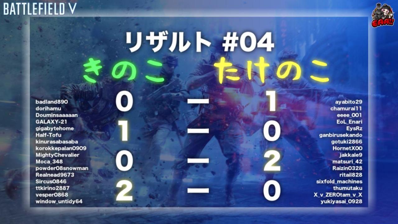 BFV:「EAA!! PC版BFVエンジョイカップ」開催告知 & PS4版04回結果報告