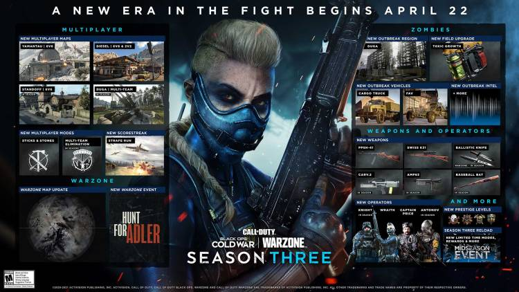 CoD:BOCW&ウォーゾーン:シーズン3 全貌公開、シーズンイベント「Hunt for Adler」 / 新マップ4種 / 新武器6種など