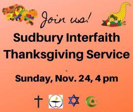 Sunday, November 24 – Interfaith Thanksgiving Service