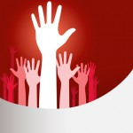 Vector background illustration with raised hands and copy space on red