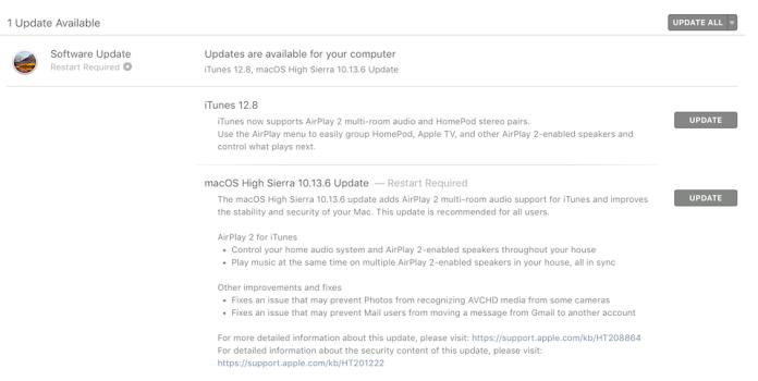 Người dùng đã có thể cập nhật macOS High Sierra 10.13.6 ngay từ hôm nay.