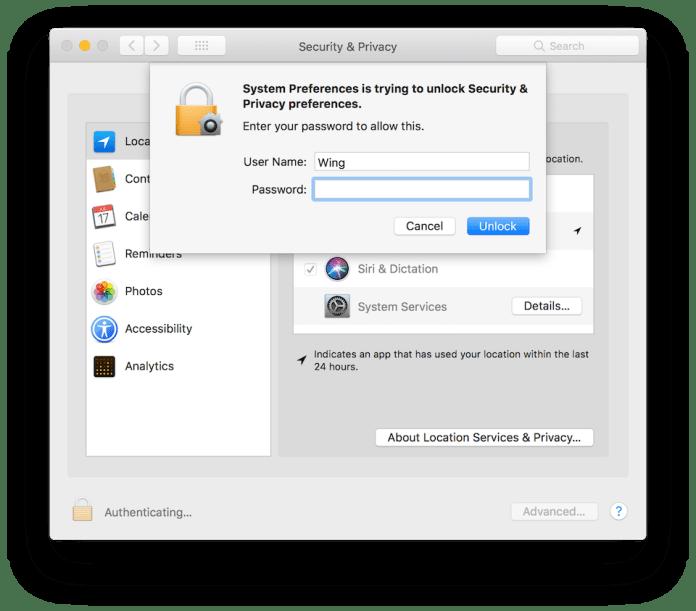 Nhấn chọn ổ khóa, nhập mật khẩu và tiến hành bỏ chọn các quyền truy cập dữ liệu tùy theo ý muốn của bạn.