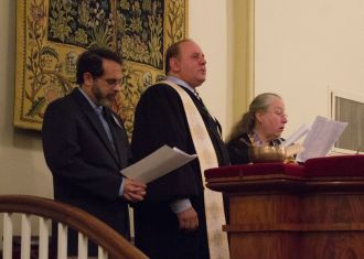 Joe Amster, Rev. Roger Peltier, and Rev. Sylvia Stocker