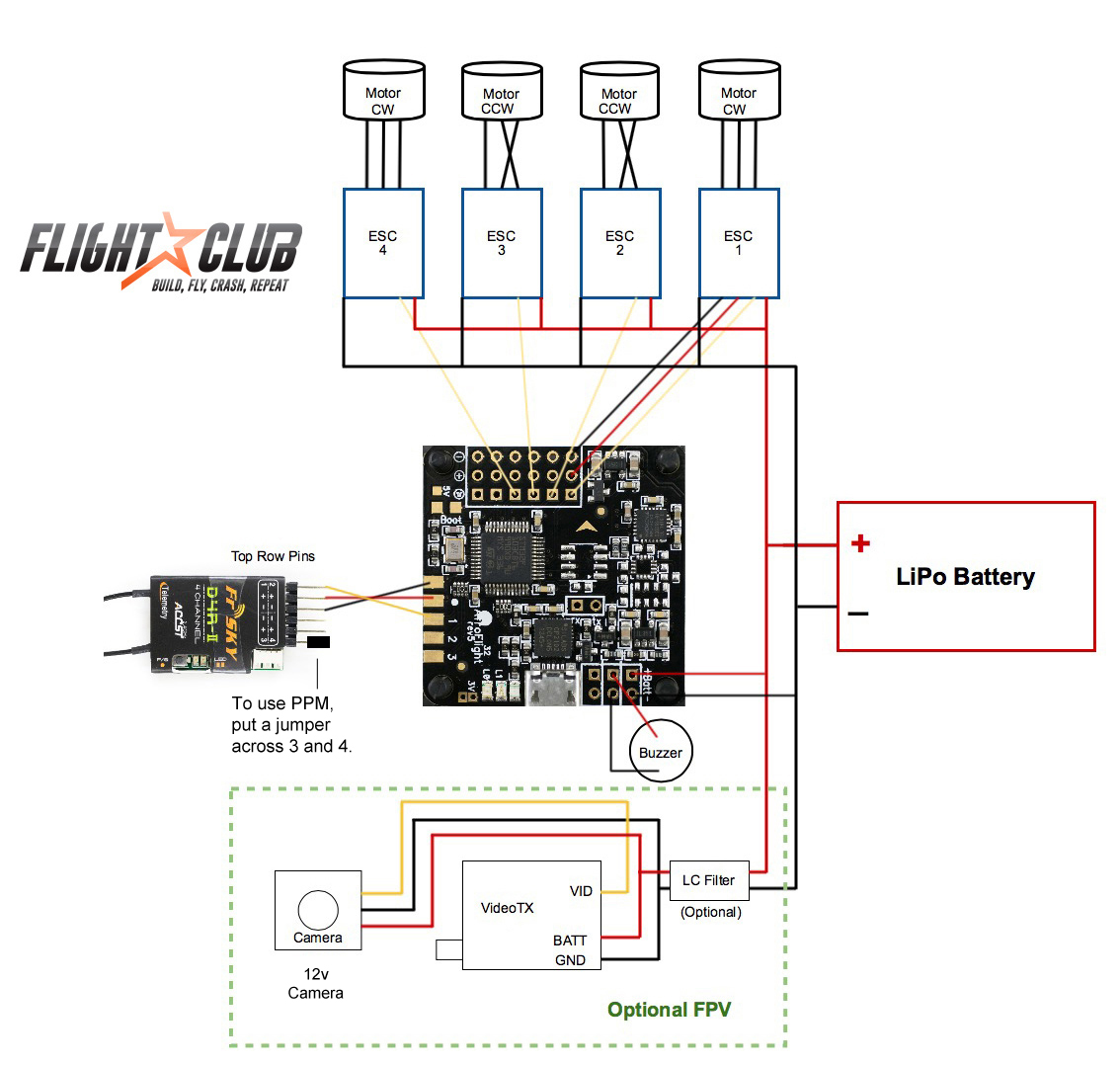 learn how to build best fpv quadcopter flightclub fpv basic wiring diagram quadcopter manual sony 700tvl fpv wiring diagram #6