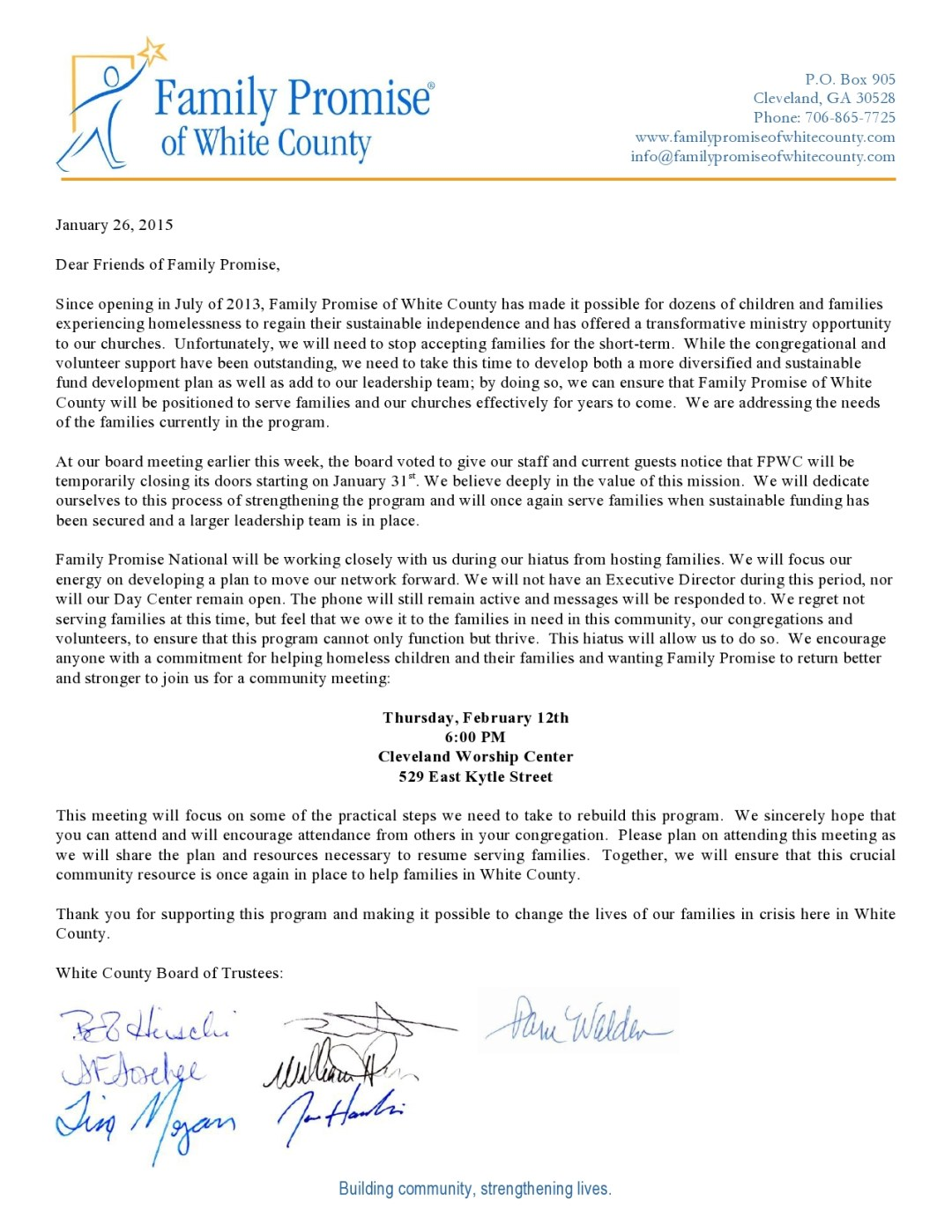 Family Promise of White County Community Meeting