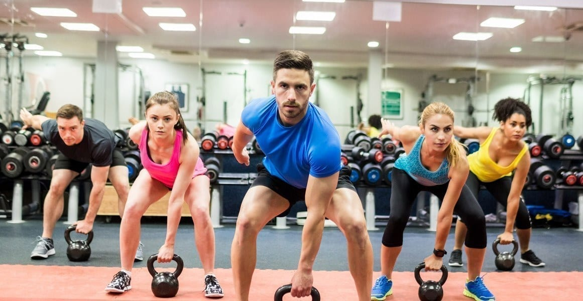 A fitness bootcamp class